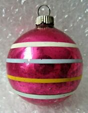 """Vintage Glass Christmas Ornament 3"""" Candy Pink With Stripes Shiny Brite"""