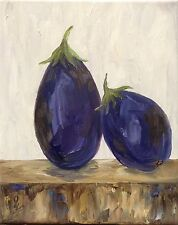 """""""On the Chopping Block: Lean on Me"""" Original Oil Painting eggplant vegetable"""
