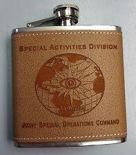 CIA NCS DO SAD SOG - JSOC Ad Oculos Globe Spec Ops Leather & Steel 6oz Flask