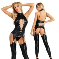 Womens Faux Leather Wet Look Catsuit Costume Lingerie Jumpsuit Bodysuit Clubwear