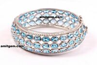 925 Sterling Silver Blue Topaz Gemstone Bracelet Bangle Cuff