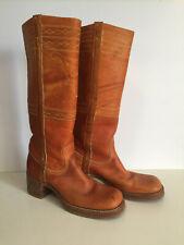 Vintage Frye Campus Black Label Tall Boots Reindeer Antler Horse Stitching 7 1/2