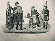 1819  GRAVURE ESTAMPES MOEURS COSTUME SUEDOIS LAPONS