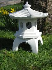 """PAGODA 16"""" Cement Outdoor Lantern 3-pc GARDEN DECOR Feng Shui TERRA COTTA STAIN"""
