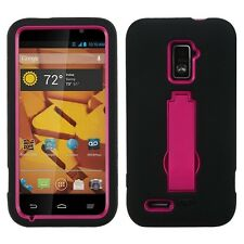 For ZTE WARP 4G N9510 BLACK PINK Heavy Duty STAND SILICONE PLASTIC CASE COVER