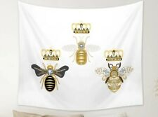 """NEW Queen Bee / King Bee White Velvety Tapestry 60"""" x 52"""" Wall Decor w/Clips"""
