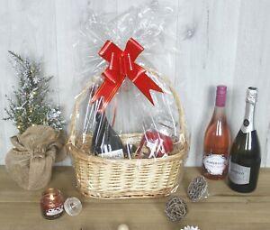 Luxury Wicker Basket Make Your Own Hamper Handle Ribbon Display Christmas Gift