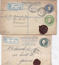 Two KGV pre-paid registered letters