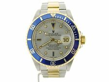 Rolex Submariner 18k Yellow Gold & Steel Watch FACTORY Silver Serti Diamond Dial
