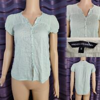 Women's FRENCH CONNECTION Top Blouse Size 6 Light Blue Cotton Tee T-shirt FCUK