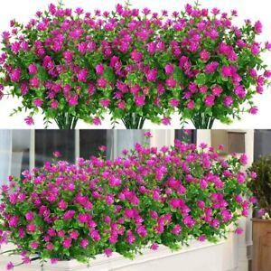 6 Bundles Artificial Flowers Outdoor Fake Plants UV Resistant Faux Plastic