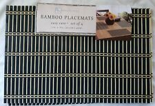 """Benson Mills  Bamboo placemat  12""""x18  table  protector  set of 6   """"BLACK"""""""