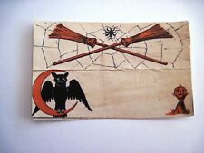 """1937 """"Halloween"""" Place Card w/ Owl, Brooms, Spider and Pumpkin *"""