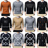 Men's Knitted Jumper Crew Neck Sweater with Mock Shirt Collar Work Pullover