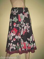White Stuff ~ Black & Pink Fine Cotton Floral Print Swirly Flared Skirt ~ Size 8