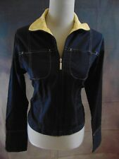 Nike Women's Navy/Yellow Collared Zip-Up 2-Pocket Unlined Jacket Size M 8-10