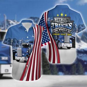 Truck Driver America Flag Short Sleeve Hawaiian Shirt All Size