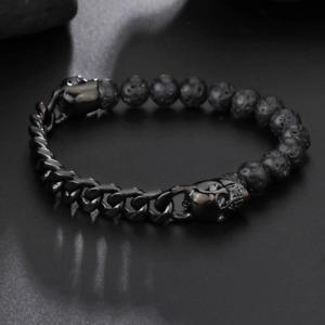 Lava Stones Skull | Gothic Bracelet - Steel | Witchy Wristband | Gothic Jewelry