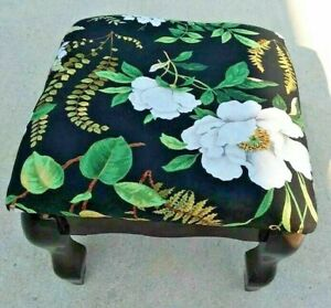 Wooden upholstered padded cushion little square footstool magnolia print fabric