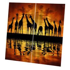 2 Panels 3D Giraffe Print Animals Door Curtains Bedroom Blackout Drapes