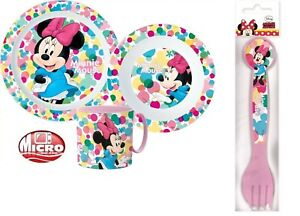 Minnie Mouse Girls Kids 5 Piece Plate Bowl Cup Spoon Fork Dinner Breakfast Set