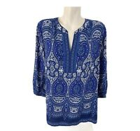 Talbots Womens 3/4 Sleeve Y-Neck Paisley Boho Peasant Blouse Top Blue Size M