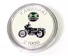 Kawasaki Lapel Pin Z1000 white chrome round classic vintage motorcycle UK MADE
