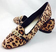Gran Tamaño Señoras Leopardo Mocasín Zapatos Planos Plus Size UK 10 Plus Size