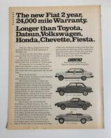 1978 Fiat 131 128 X1/9 Spider Print Ad Original 2 Year 24,000 Mile Warranty