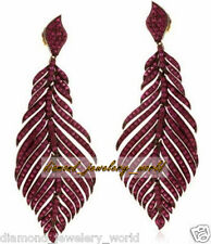 Sterling Silver Feather Earring Jewelry Victorian Inspired Pave Ruby Studded 925