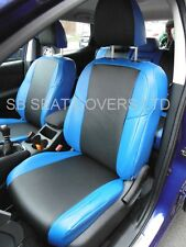 TO FIT A NISSAN QASHQAI CAR SEAT COVERS 2010 BLACK/NEON BLUE LEATHERETTE