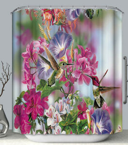 Hummingbird Flower Fabric SHOWER CURTAIN 70x70 w.Hooks Floral Pink Purple Bird