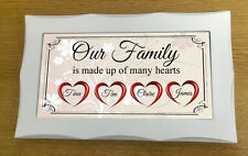 Framed Handmade Personalised Plaque Our Family Hearts Gift Sign Present Chic