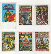 Marvel Superheroes Trading Cards 1984 set of 5 (#s 7, 17, 18, 20, 23) + sleeve