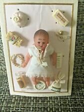 """Antique  Celluloid  Jointed  Doll 3"""" with Adorable Accessories on Card."""