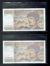 Lot de 2 Billets de 20 Francs Claude Debussy 1997 - W057 & D059