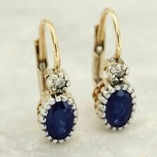 14k Real Yellow GOLD Natural Blue SAPPHIRE and DIAMOND Dangle Leverback Earrings