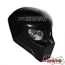 Streetfighter Custom skull Alien Predator Twin Dual Bulb Headlights Motorcycle