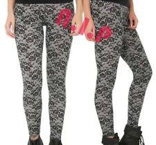 Hot Topic Victorian Gothic Opaque Black White Celebrity Punk Lace Leggings Pants