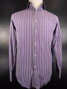 Beautiful Men's 15 32/33 Polo by Ralph Lauren Regent Purple Striped LS Shirt GUC