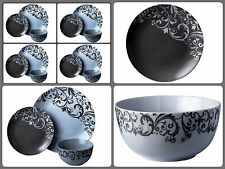 12PC Dinner Set Plates Bowls Dinnerware Kitchen Service for 4 Place Setting Grey