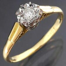 Traditional Vintage 60s Solid 18k Yellow White GOLD SOLITAIRE DIAMOND RING Sz P