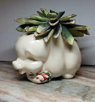 Vntg Perky Stoneware Multi Use Pig Planter/Succulent/Trinket/Vanity Xclnt Cndtn