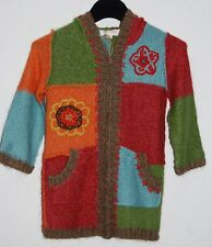 MIMI & MAGGIE Girl's Boutique Patchwork Knit Hooded Sweater Coat Size 5 NWT
