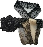 Black Antique Lace Dot Net Trim Tambour Chantilly Embroidered Flower Guipure Lot