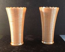 TWO (2) ANCHOR HOCKING FIRE KING ORANGE RIBBED VASES