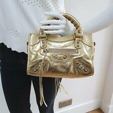 Gold Metallic Genuine Leather Micro Mini Handbag Tote Clutch small bag