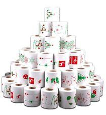 Renova White Print 3 Ply Christmas Xmas Toilet Tissue Paper Rolls (72 Rolls)