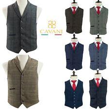 Mens Vintage Cavani Tweed Herringbone Check Lapel Collar Wedding Lined Waistcoat