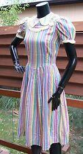 vtg 30's 40's thin cotton day DRESS stripes w/ ruffle rick rack trim s xs sweet